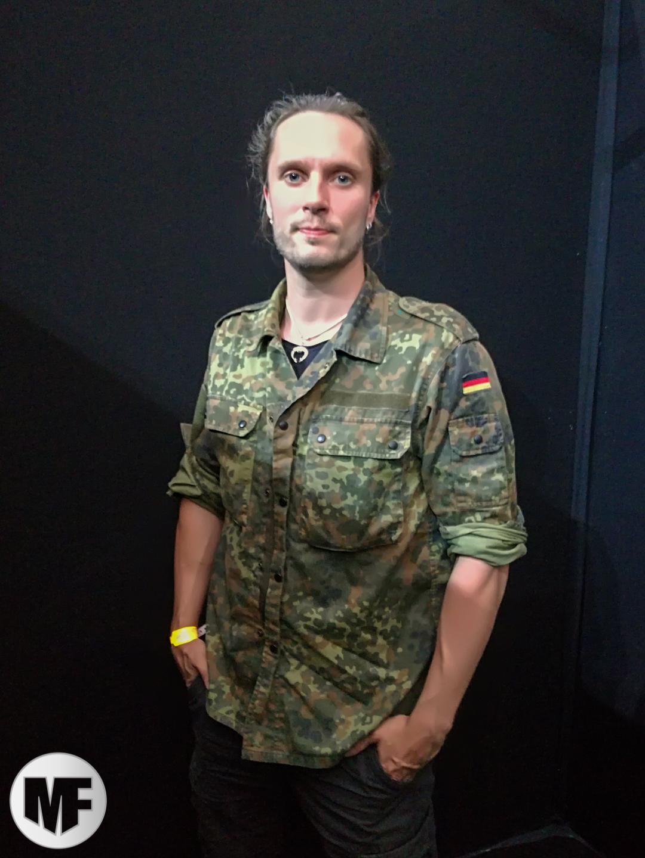 Mathias Nygard de Turisas en promo au Hellfest 2017