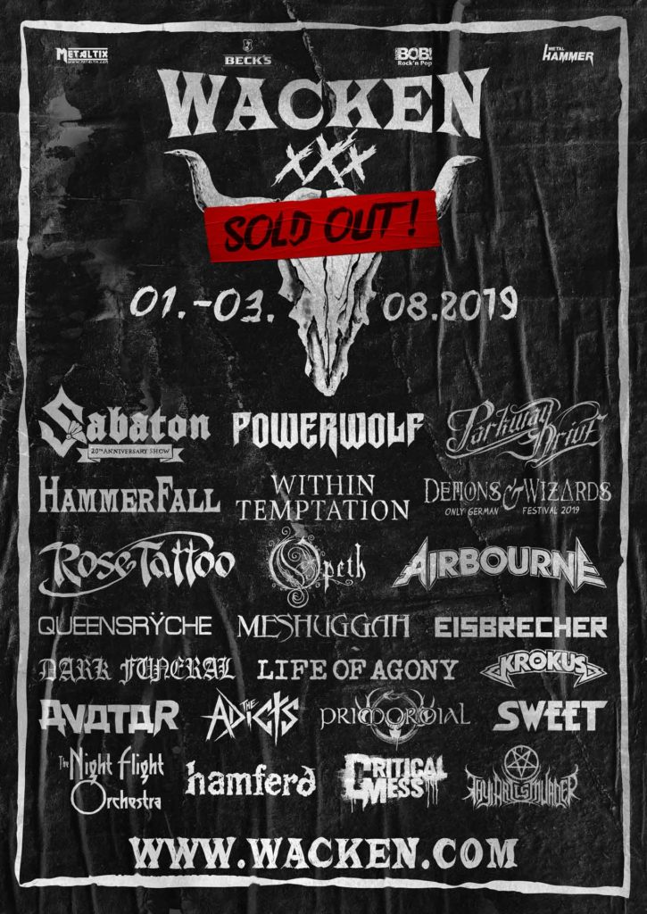Wacken Open Air 2019 poster mis à jour en septembre