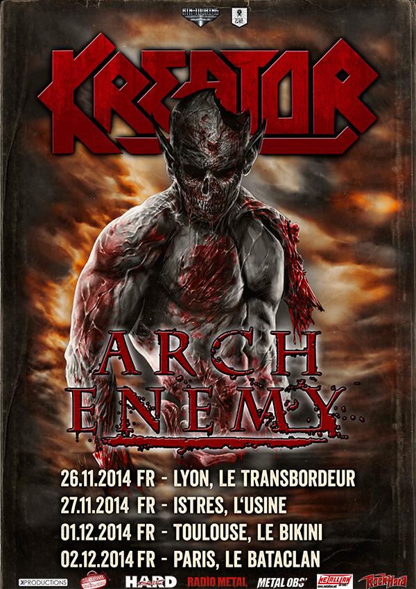 kreator et arch enemy en concert en france en 2014