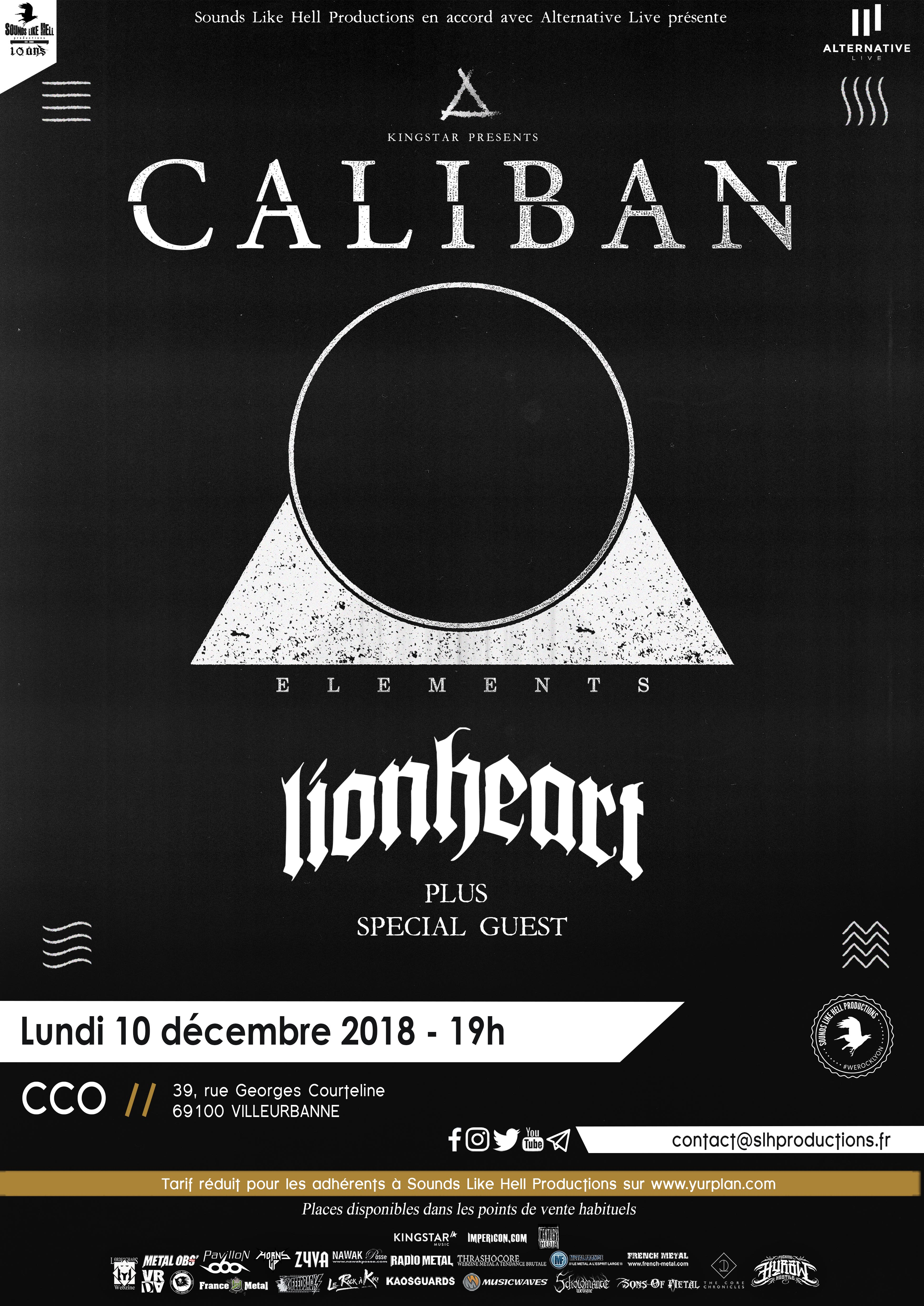 CALIBAN en concert à lyon en 2018