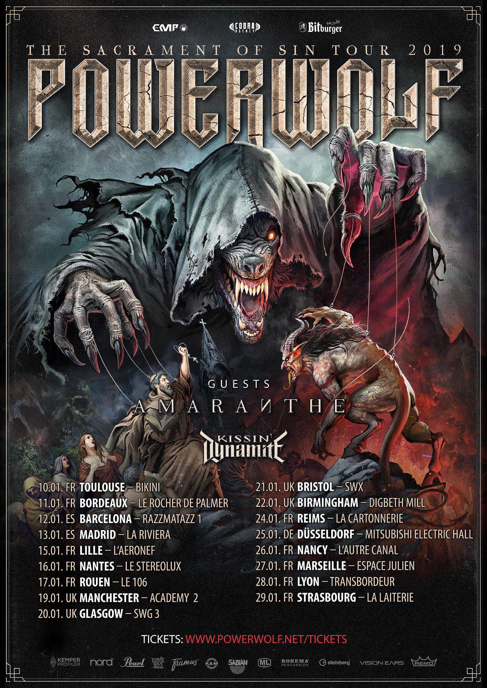 Powerwolf tournée 2019