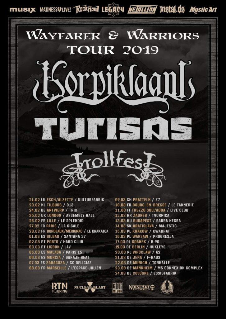 Korpiklaani, Turisas et Trollfest tournée européenne 2019