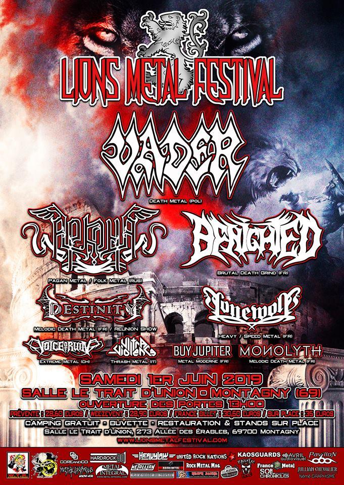 Affiche du Lions Metal Festival 2019 à Montagny