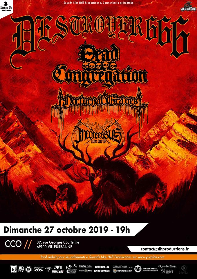 Concert de Destroyer 666, Dead Congregation et guests à Lyon (CCO)