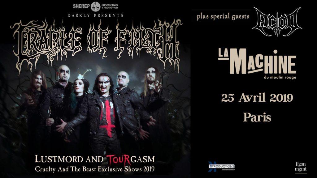 Concert de Cradle Of Filth et d'ACOD à La Machine du Moulin Rouge le 25/04/2019
