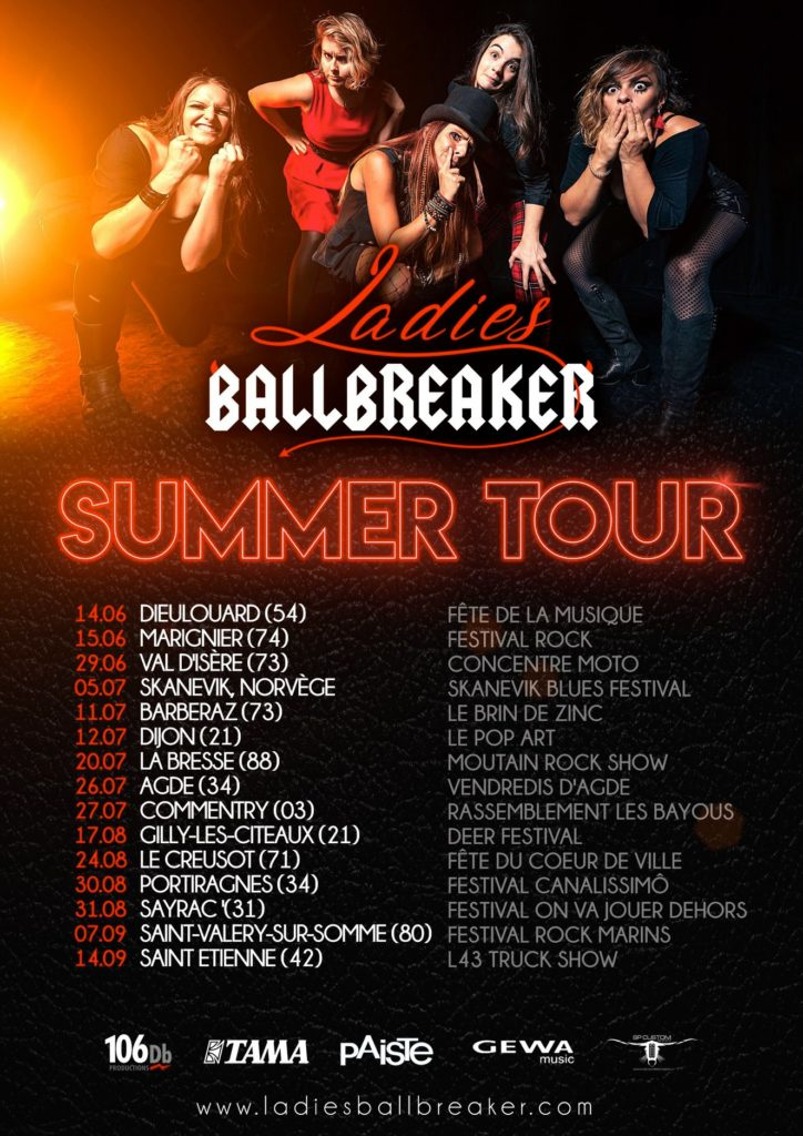 Affiche du Summer Tour 2019 des Ladies Ballbreaker
