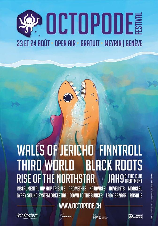 Affiche de l'Octopode Festival 2019 à Meyrin en Suisse