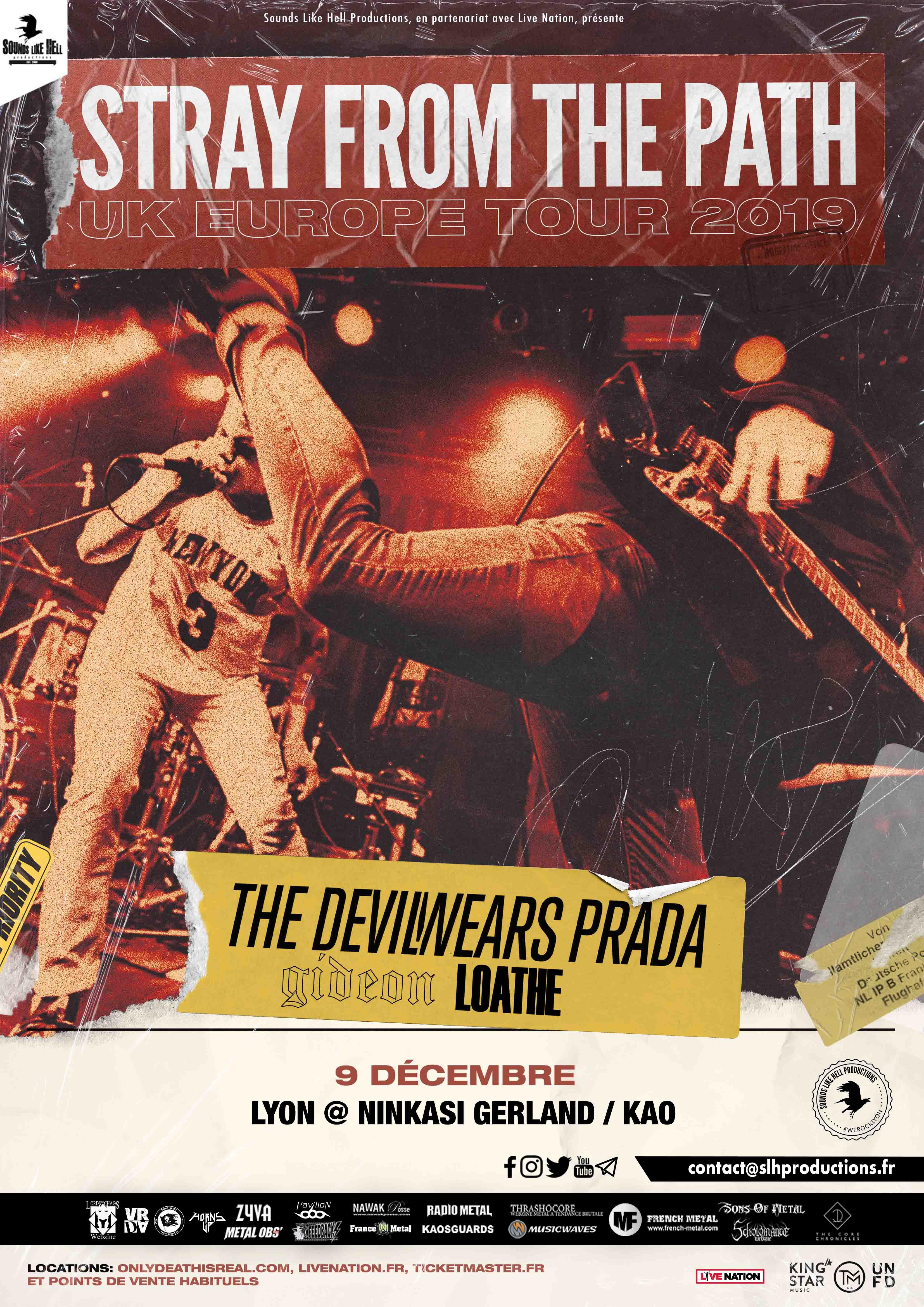 TRAY FROM THE PATH + THE DEVIL WEARS PRADA + GIDEON + LOATHE en concert à Lyon le 9 décembre 2019