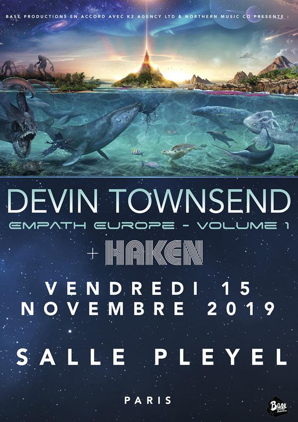affiche de devin townsend et haken à paris en 2019