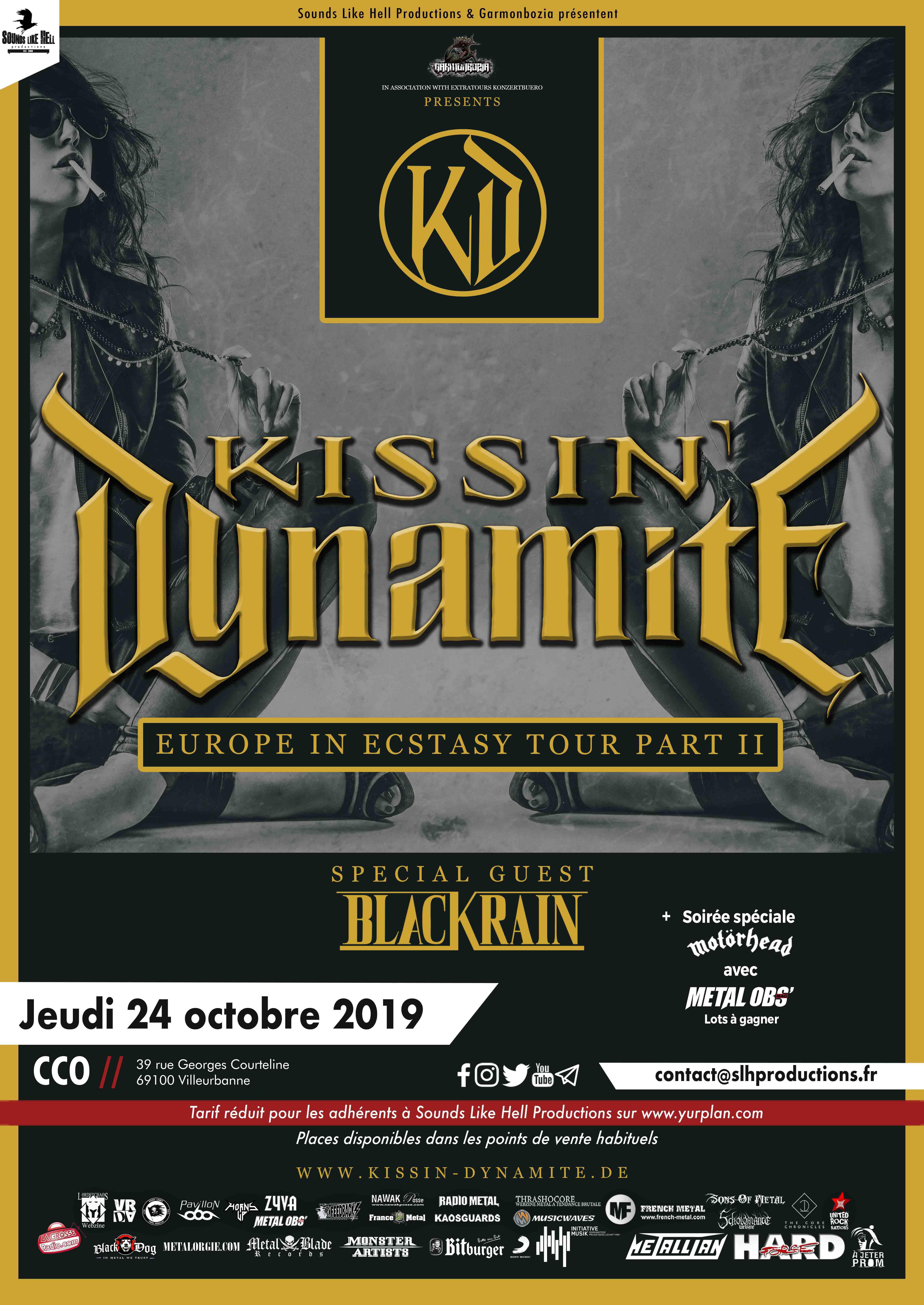 Affiche du concert de Kissin' Dynamite + BlackRain - Europe in Ecstasy Tour - Lyon le 24 octobre 2019