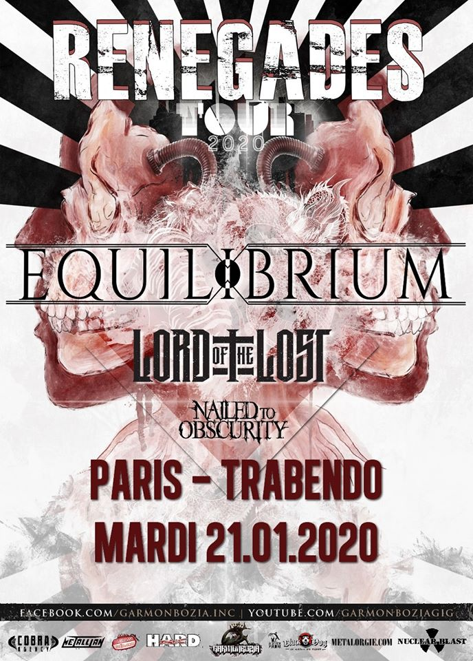 Concert de Equilibrium, Lord Of The Lost, Nailed To Obscurity au Trabendo à Paris