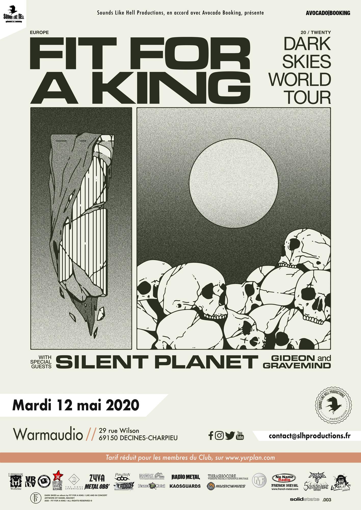 Affiche du concert du groupe Fit for a King au Warmaudio à Lyon en 2020