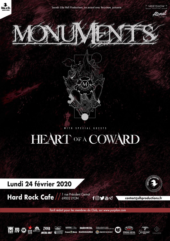 MONUMENTS et HEART OF A COWARD à Lyon en 2020